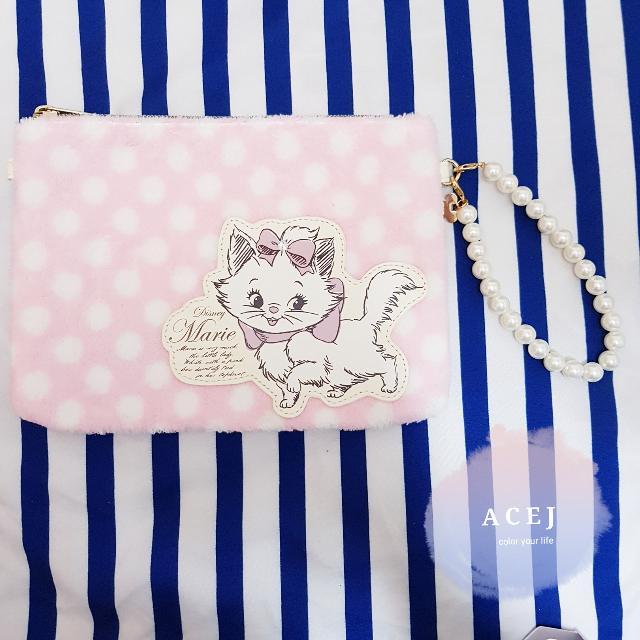 ACEJ日本 Disney Store 迪士尼瑪麗貓毛料手拿包/化妝包/收納包-現貨,臉書按讚打9折