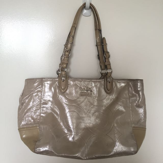 Authentic Coach Mia Embossed Leather Tote Shoulder Bag