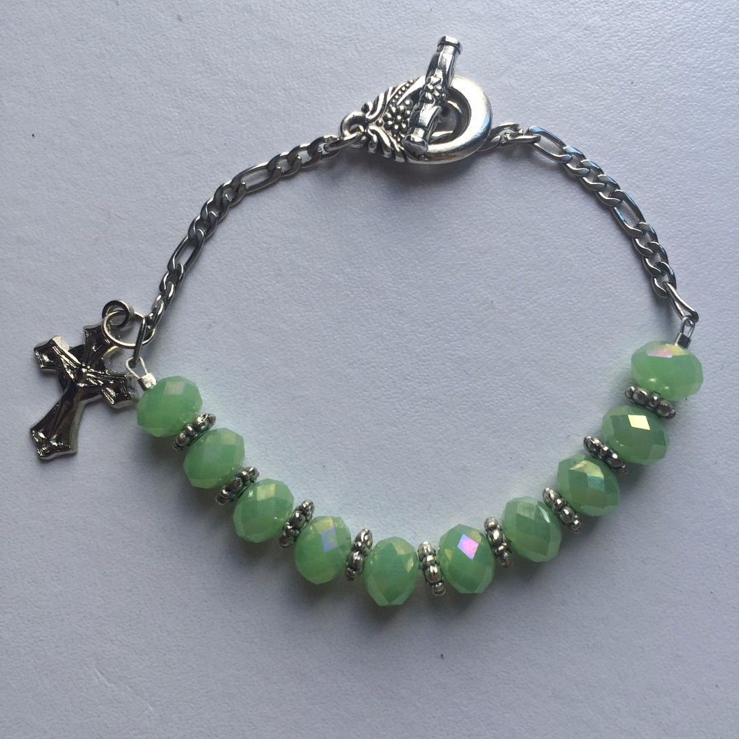 beads and chain bracelet with crucifix