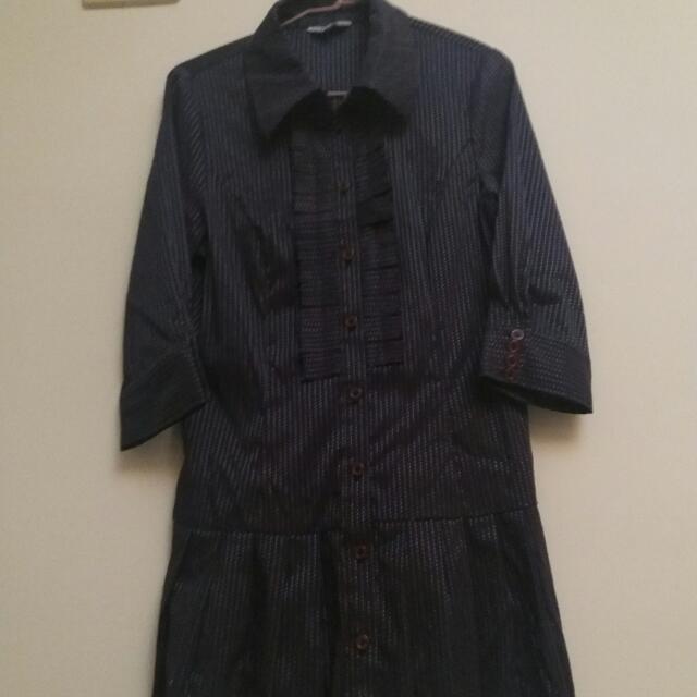 Beartwo深藍排扣洋裝