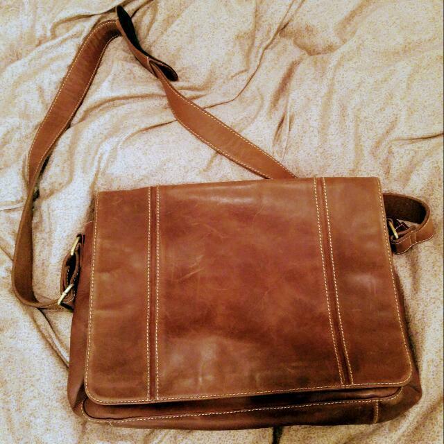 Beautiful Light Brown Danier Leather Laptop Bag