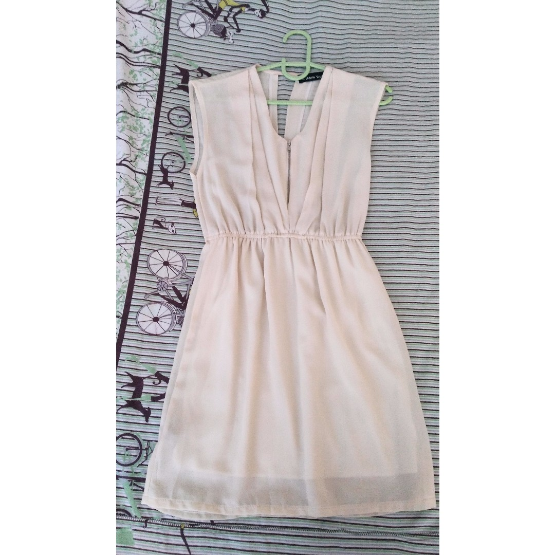 Beige Chiffon Dress - with backless detailing