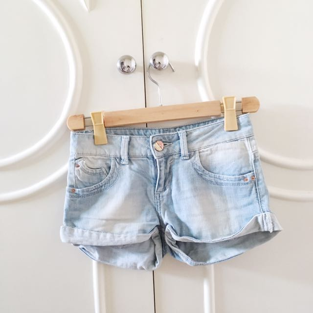 Bershka Light Washed Denim Cut Offs
