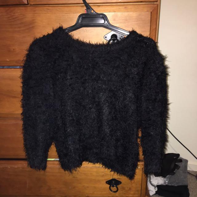 Black Fluffy Top