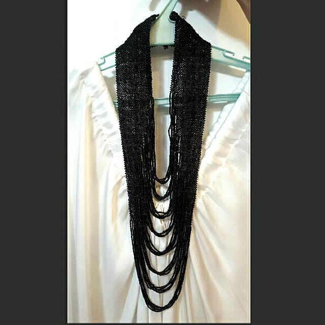 Black Multi-layer Beaded Necklace