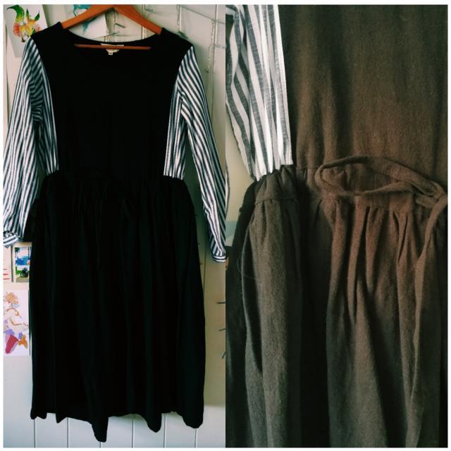 Black Panelled Drawstring Waist Dress