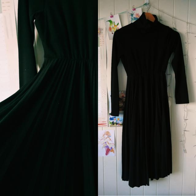 Black Vintage Turtleneck Dress