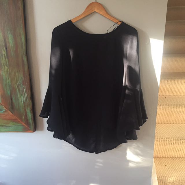 Blue Flared Sleeve Top Size 12
