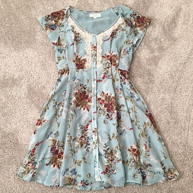 Blue Floral And Lace Skater Dress