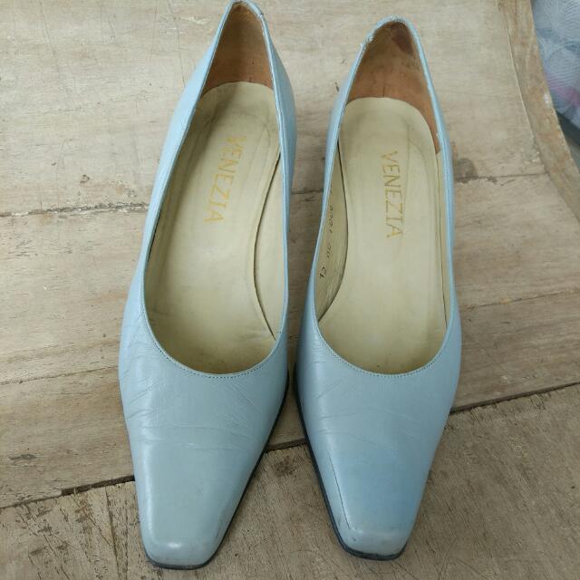 Blue Heels Shoes Sepatu Biru Heels