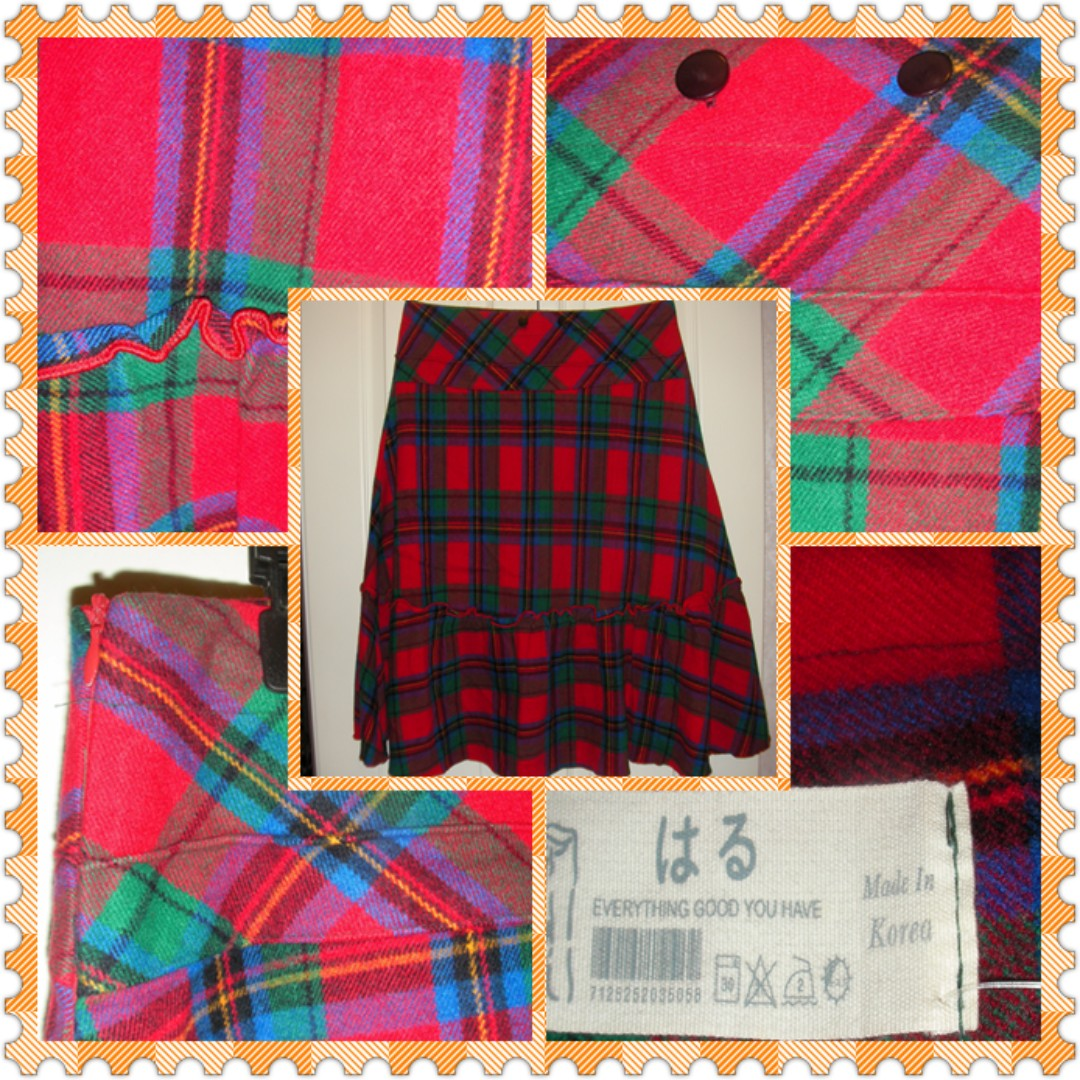 "brand new red flannel checkers skirt, made in Korea, 31""waist, 24"" long, with side zip, excellent condition & materials"
