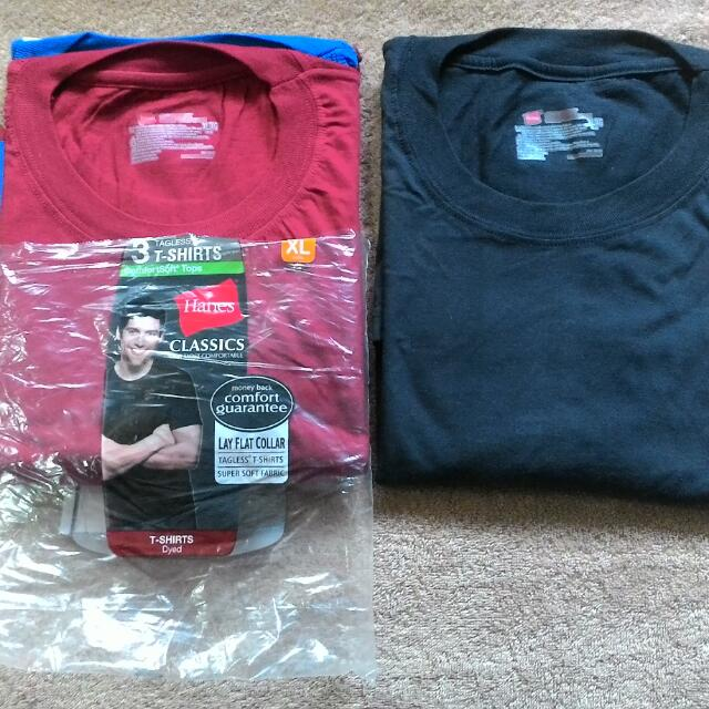 Brandnew HANES Classic Colored Shirts 3 Shirts in a Pack, AUTHENTIC! XL size Round/Crew Neck , Tagless
