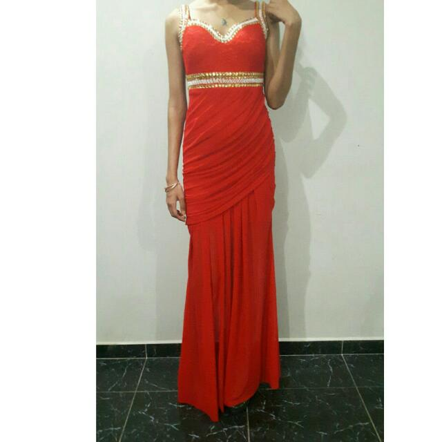 Bright Red Prom Dress Womens Fashion Clothes Dresses Skirts On