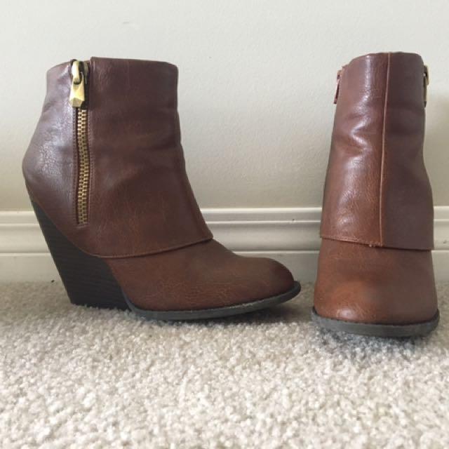 Brown Zip Up Booties