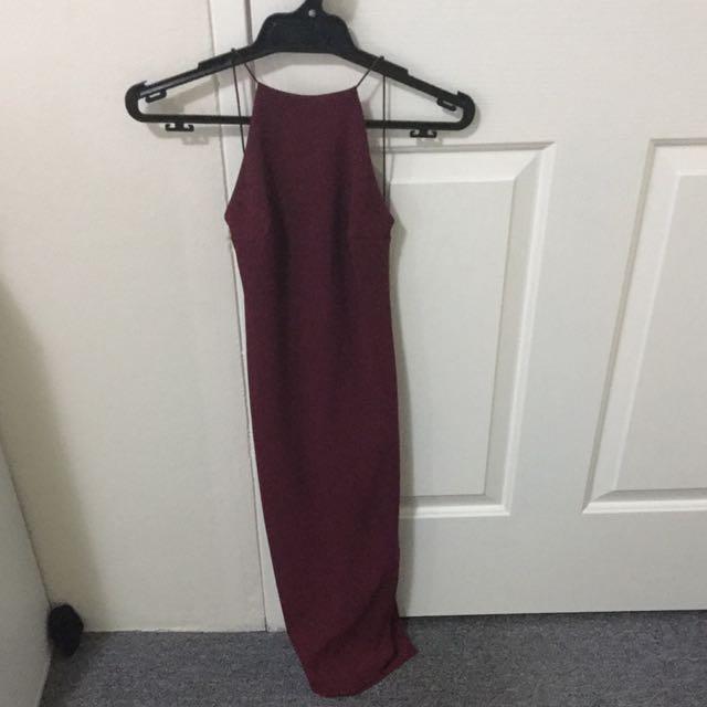 Burgundy Backless Midi Dress