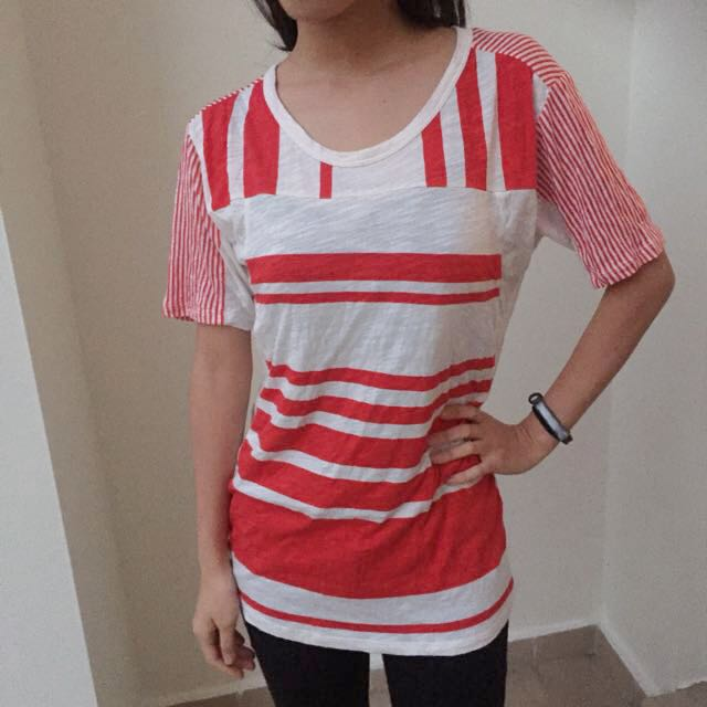 Country Road (New) Red And White Striped Top