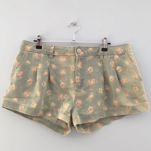 Denim/Floral Shorts Size 14