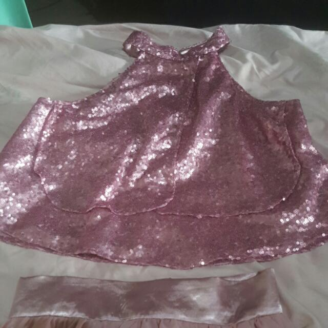 elegant rose gold sequined crop top gown