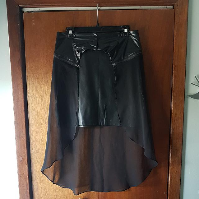 Faux Leather High-waisted Skirt W/ Sheer Overlay (detachable) (M)