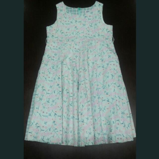 Floral-Checkered Sleeveless Dress