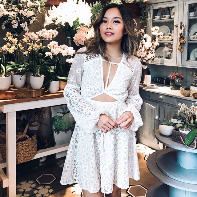For Love & Lemons: White Floral Dress