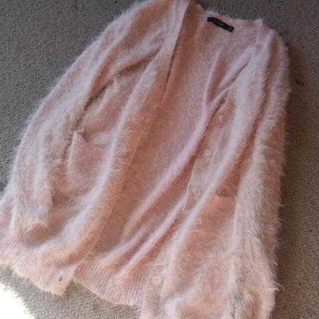 Glasssons light pale pink fluffy shaggy cardigan
