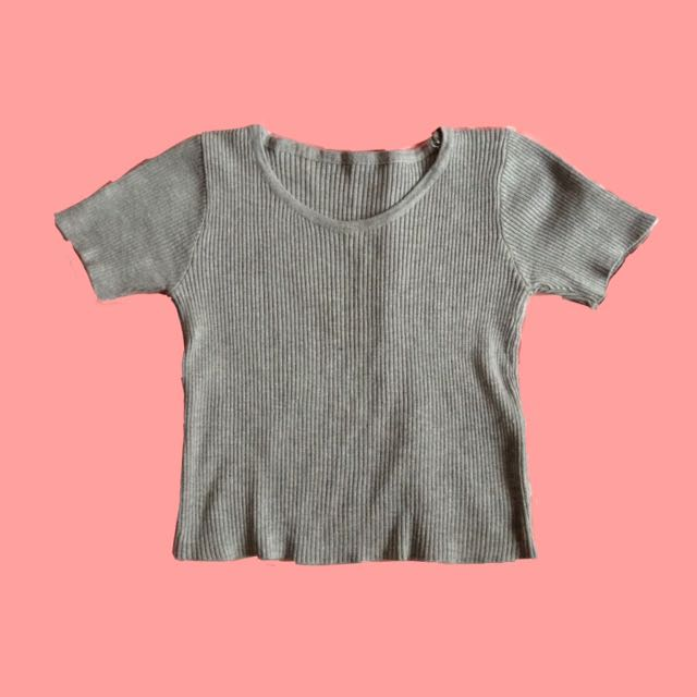 Grey Ribbed Round Neck Top