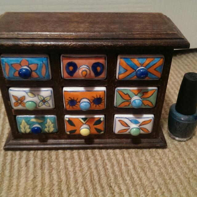 Hand painted multi purpose mini porcelain cabinets