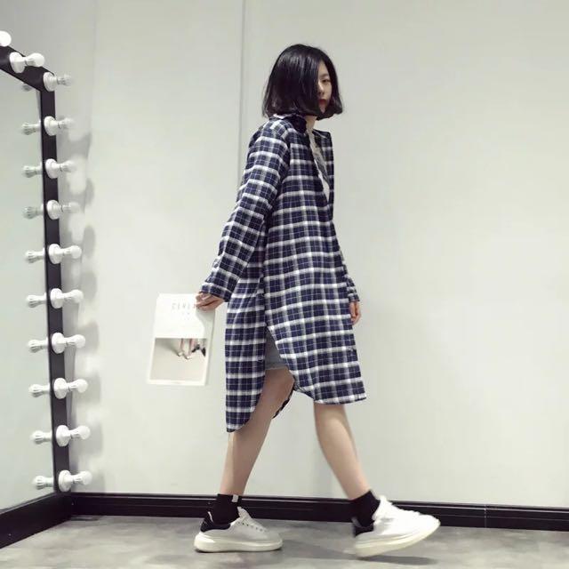 追加款🎀hello.oo 春季新品 韓國大格子寬鬆休閒中長款長袖女裝襯衫薄外套