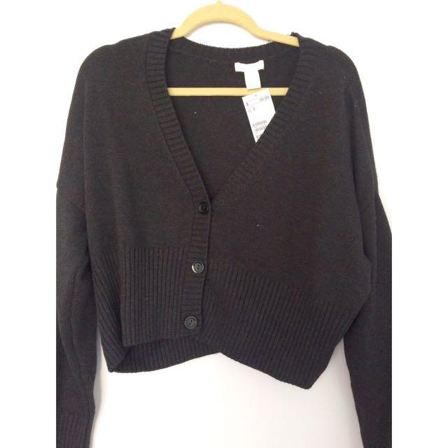 H&M Black Cropped Cardigan