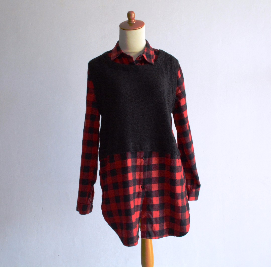 Kemeja Flannel rajut - Red Checkered