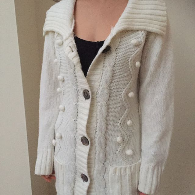 Knitted Cardigan/Coat Cream With Wooden Buttons