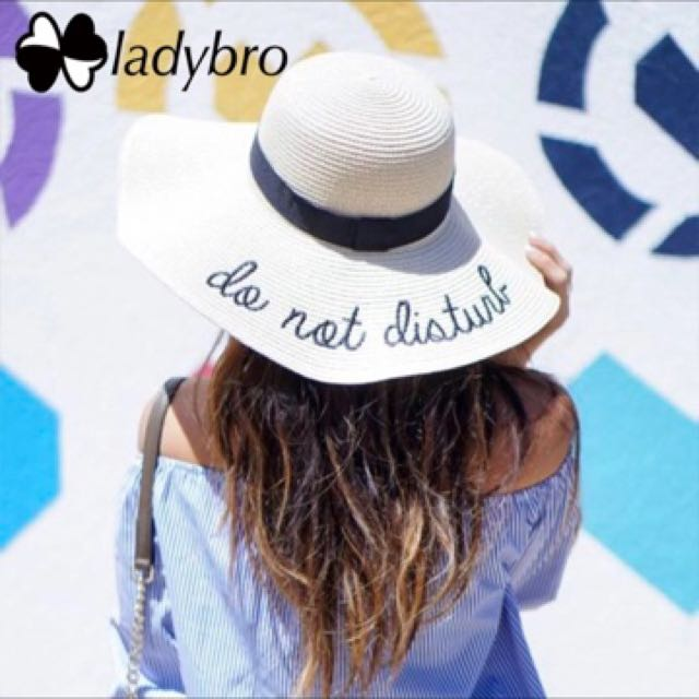 4c851c1db43 Ladybro Women Sun Hat Summer Beach Straw Hat Do Not Disturb Sombrero ...