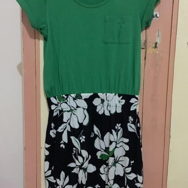 MALDITA Green Dress w/ Floral Skirt