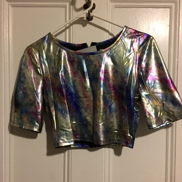 Metallic Oil Slick Cropped Tshirt