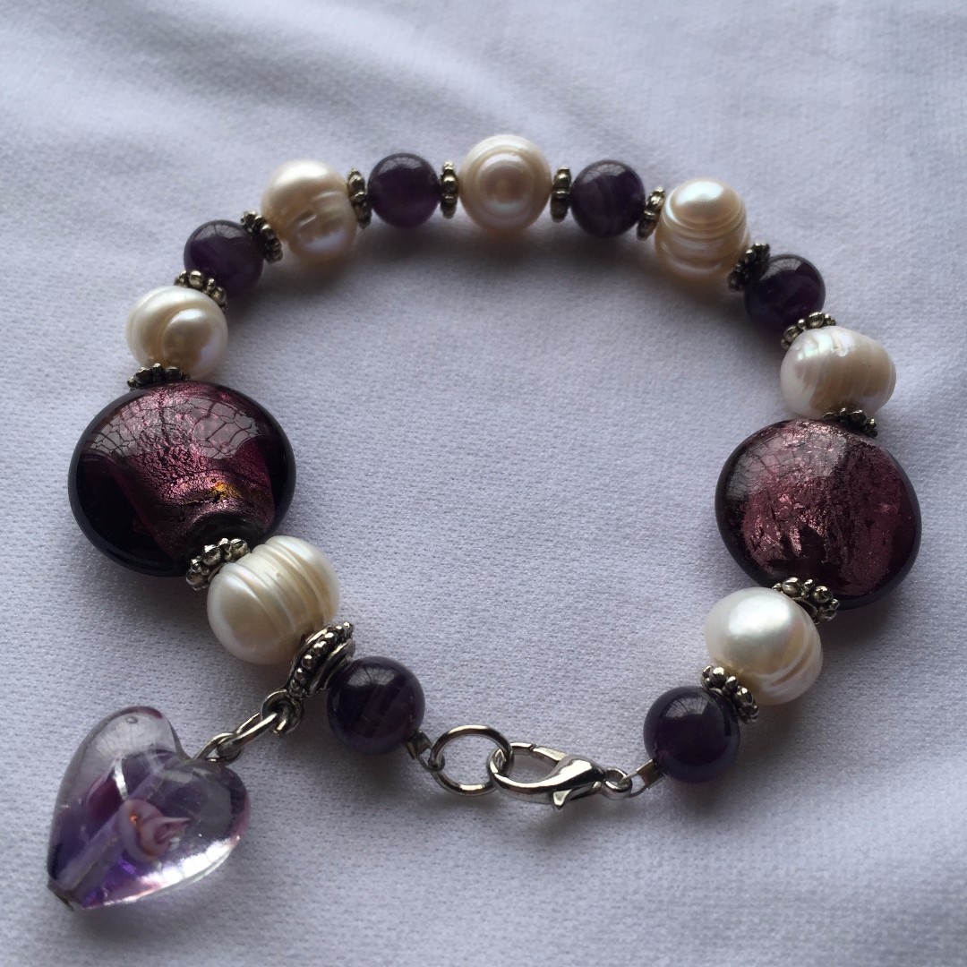Mixed beads bracelet with lock and heart charm