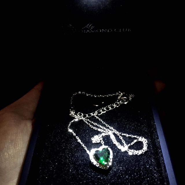 My DIAMOND club Heart Shaped Authentic Emerald Necklace