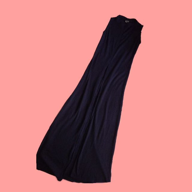 Navy Blue Maxi Dress With A Slit In Front