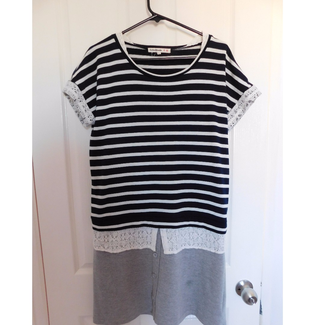 Navy white and grey striped shirt dress