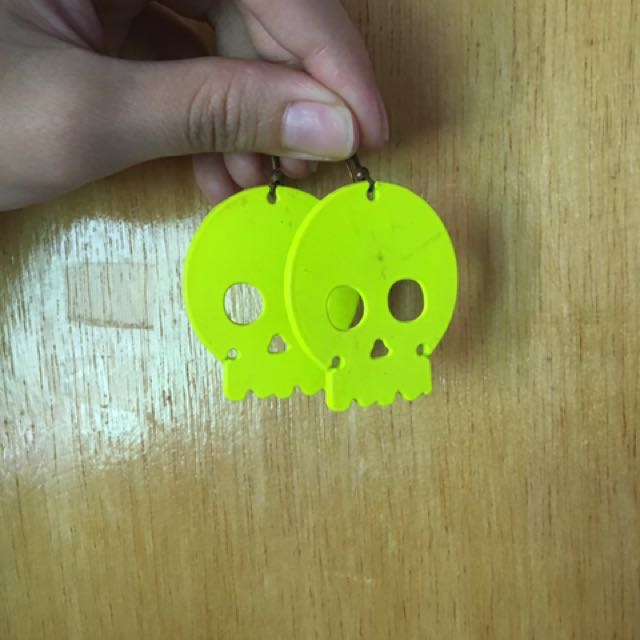 Neon Yellow Green Skull Earrings