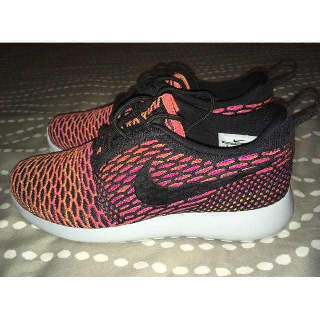 Nike Pink, Orange & Black Roshe Run Flyknit Sneakers Size 8
