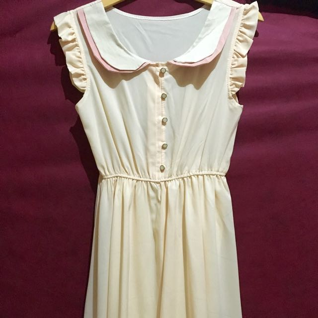Pastel Peach Dress w/ Frilled Sleeves