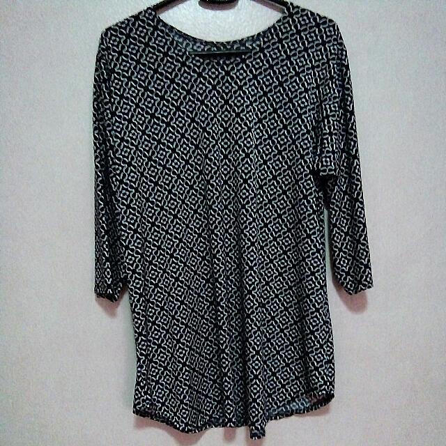 Patterned Blouse (Dark Blue)