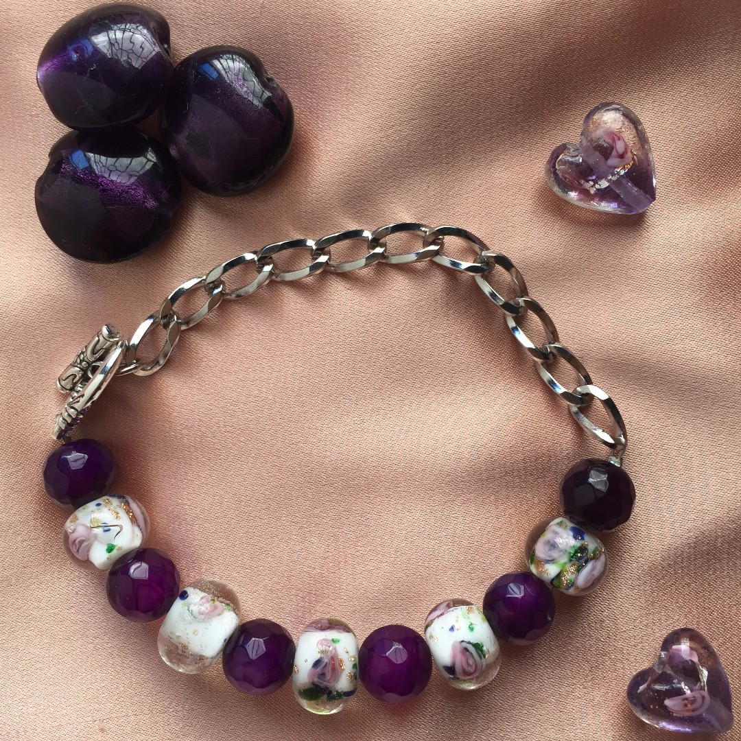 Purple Agate Beads and chain bracelet