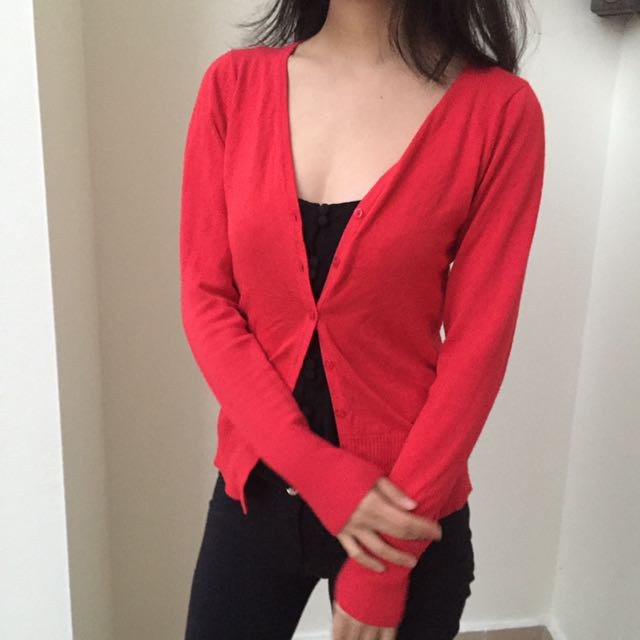 Red Cardigan/ Long Sleeve Button Top