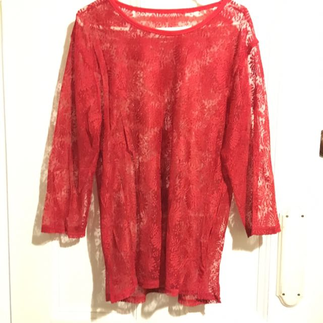 Red Sheer Lace Long 3/4 Sleeve Top