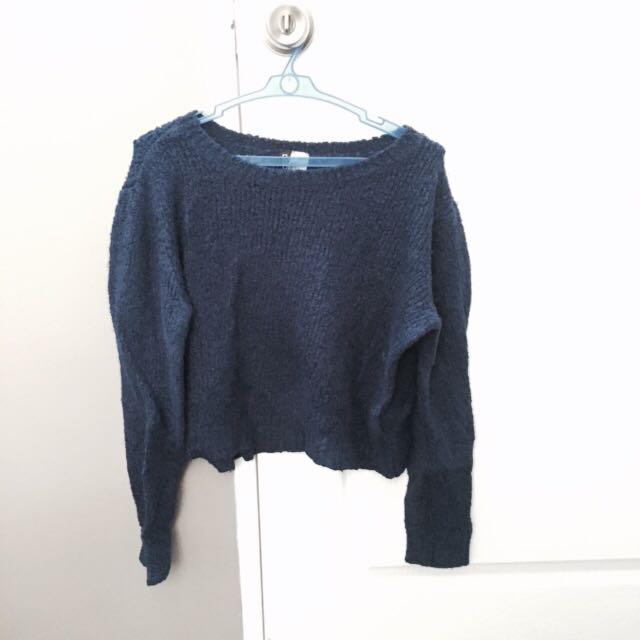 Royal Blue H&m Cropped Knitwear