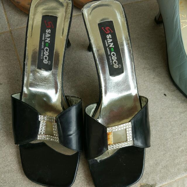 Selop Hitam Black Heels Sandal