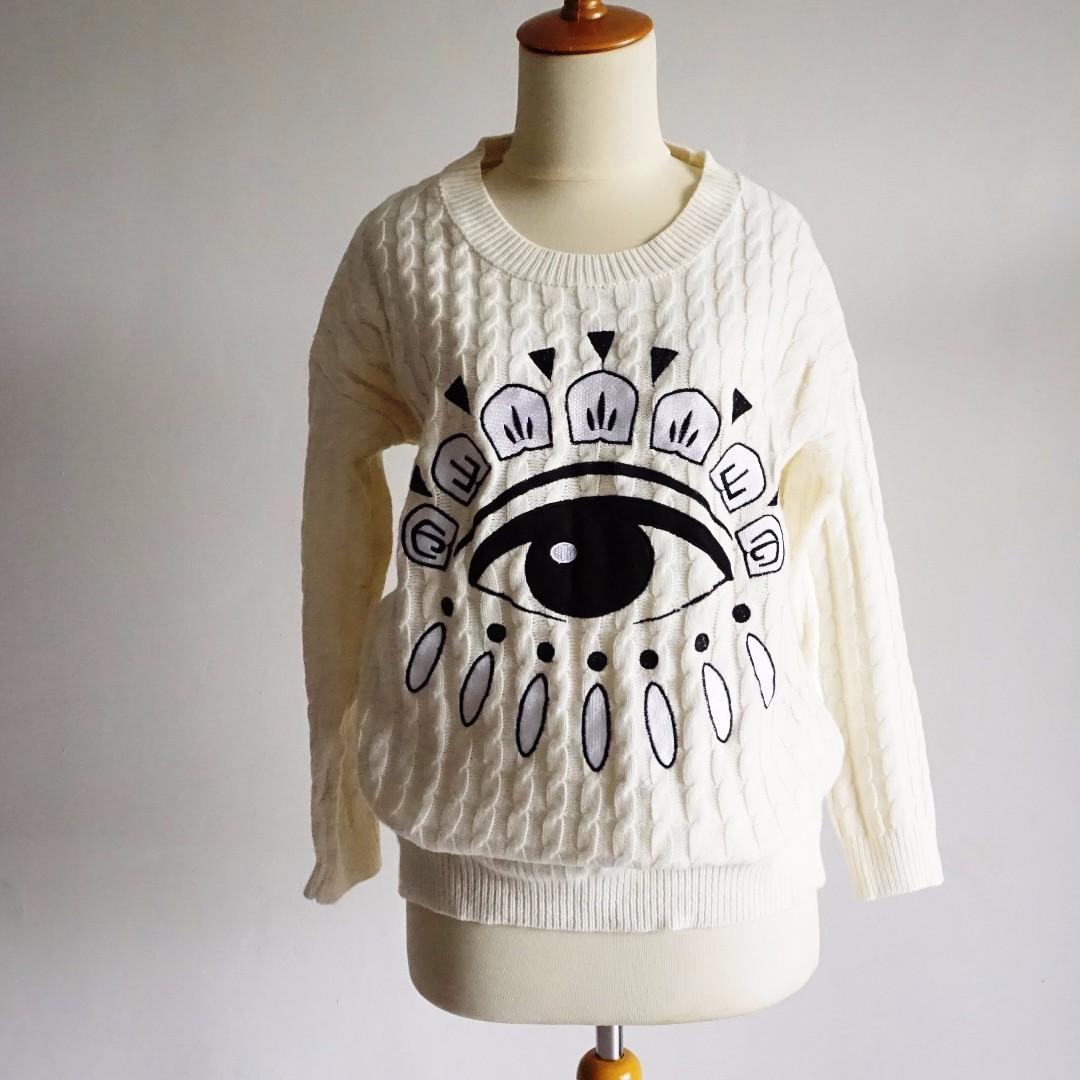 Sweater Import Rajut - The Eye - White