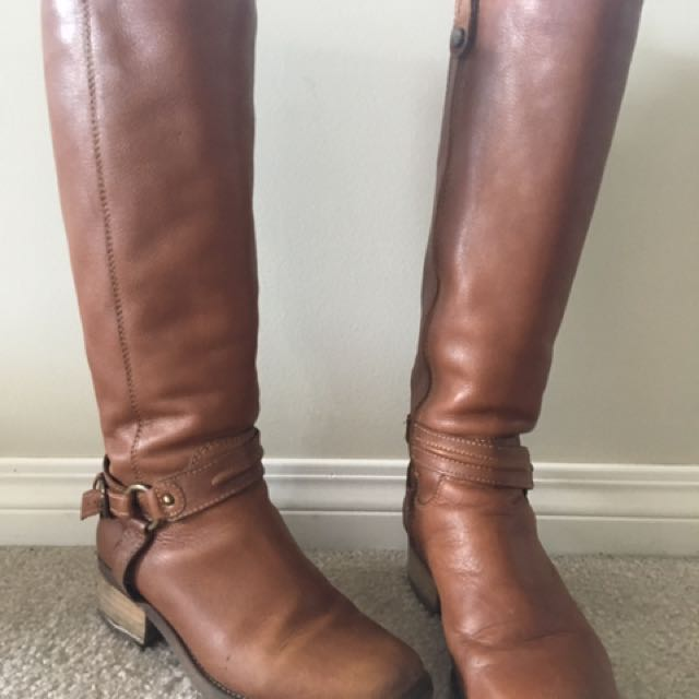 Tall Brown Leather Riding Boots
